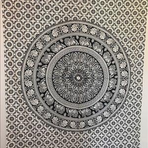 Black and White Elephant Mandala Tapestry